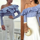 Summer Womens Off-shoulder Casual Frill Blouse Long Sleeve Ladies Tops T-Shirt