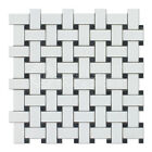 Thassos White Greek Marble Basketweave Mosaic Tile