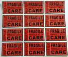 12 X KEEP FLAT FRAGILE or  GLASS HANDLE WITH CARE Business Labels