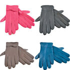 Ladies Womens Soft Fleece Lined Coloured Genuine Leather Bow Gloves Warm Winter