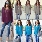 Womens Tops Chiffon Blouse Long Sleeves Plus Size Ladies Casual Loose T Shirts E