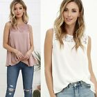 Ladies Women's Tank Top Lace Chiffon Hollow Vest T-Shirt Summer Singlet Blouses