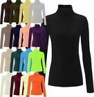 NEW WOMENS PLAIN RIBBED COTTON POLO ROLL NECK LONG SLEEVED CASUAL JUMPER TOP SIZ