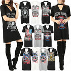 Women's Ladies Choker Neck Short Sleeve Slogan Printed Longline T Shirt Dress