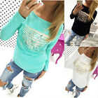 Womens Lady Long Sleeve T-Shirt Tops Sweater Blouse Pullover Jumper Tee Tops
