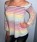 New COLORFUL Striped OFF SHOULDER Long LACE BELL SLEEVE Shirt CHOOSE SIZE XS S M