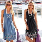 Fashion Women Summer Sleeveless Floral Loose Sundress Beach Casual Prom Dress