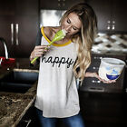 Women Long Sleeve Casual Tee Letter Printed Blouse Casual Tops O-Neck T Shirt