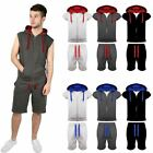 Hooded Mens Gilet Sleeveless Sweatshirt Zipper Hoody Tracksuit 3/4 Jogger Suit