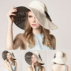 Foldable Summer Women Wide Brim Anti UV Bowknot Polka Dot Sun Hat Cap Headwear