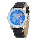 New Casual Men Mechanical Automatic Skeleton Wrist Watch Leather Strap Analog