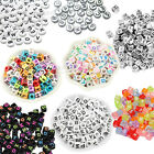 UK New 400 to 600 Mixed Letter Alphabet Beads White Silver Colorful Transparent