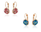 SMALLGOLD TONE BLUE OR PINK   DIAMANTE CRYSTAL ROUND DROP EARRINGS