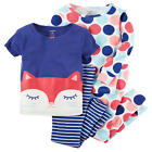 Carter's 4 Piece Blue/White Cat & Polka Dot Printed Tops with Matching Pants