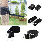Metal Ring Carabiner Hook Black Hanging Hammock Strap Safety Belt Band 2 Pcs