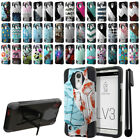 For LG Aristo MS210 LV3/ M150/ Fortune Hybrid Dual Layer Stand Case Cover + Pen