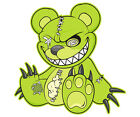 Zombie Teddy Bear Decal Green Dead Cute Zombies Gloss Vinyl Sticker (LH) HGV