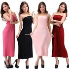 Lady Women Sheering Gather Boobtube Bandeau Long Summer Strapless Maxi Dress B21