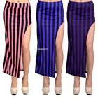 WOMENS SIDE SPLIT SLIT MAXI SKIRT DRESS STRIPED BODYCON IRREGULAR PENCIL SKIRT01