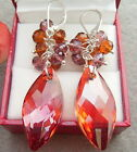 13x28mm Faceted Marquise Crystal Earrings-Sliver lever Back