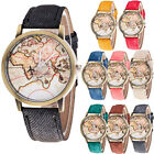 Fashion Women's World Map Cowboy Leather Band Analog Quartz Casual Wrist Watch