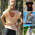 Fashion Women Casual Loose O-Neck Short Sleeve Solid Back Heart Hollow Out B20E