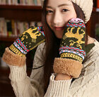 Stylish Women Gloves Warm Winter Autumn Knitted Thick Finger Touch Screen Gloves