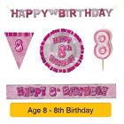 AGE 8 - Froh 8th Geburtstag ROSA GLANZ - Party Ballons, Banner & Dekorationen