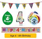 AGE 4 - Happy 4th Birthday Party Banner, Balloons & Decorations
