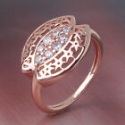 HUCHE Rose Gold Filled Luxury Hollow Ring w/ Diamond Sapphire for Party Wedding