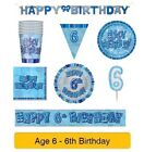 AGE 6 - Happy 6th Birthday BLUE GLITZ - Party Balloons, Banners & Decorations/HB