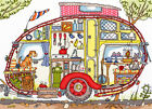 'CARAVAN' Quirky design - Bothy Cut Thru' CrossStitch Full Kit + discount & gift