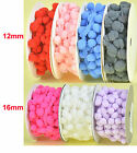 NEW 3/5yds x Reel 12mm 16mm Pom Pom Bobbles Trim Fringe Ribbon Eco Quality