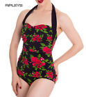 HELL BUNNY Halterneck 50s Black CANNES Swimsuit Floral All Sizes