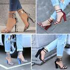 Woman Fashion Summer High Heels Thick Heel Transparent Open Toe Sandals Shoes