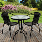 Black Wicker Bistro Sets Table Chair Patio Garden Outdoor Furniture Diner Home