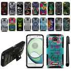 For Motorola Moto Z Play Droid XT1635 Hybrid Heavy Duty Stand Case Cover + Pen