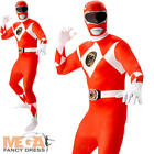 Red Power Ranger Mens Fancy Dress Superhero Rangers Suit Adults Costume Outfit