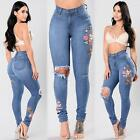 Women Fashion Embroidered Floral Jeans Ripped Slim Denim Pants Trousers