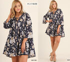 XL 1X 2X UMGEE Plus Size Navy Floral Bell Sleeve Swing Trapeze Swing Tunic Dress