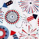 PATRIOTIC TABELCLOTH~Vinyl~Flannel Back~ALL SIZES~Fireworks/Stars/Red/blue NEW