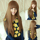 New Womens Long Straight Full Hair Cosplay Anime Fancy Dress Party Wig Free Cap