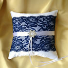HAND MADE WEDDING RING PILLOW/WHITE&NAVY&SNOWFLAKE/20cmx20cm/REDUCED TO CLEAR