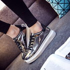Womens Patent Leather Lace Up Wedge Heels Oxfords Shoes Casual Sneakers Lace Up