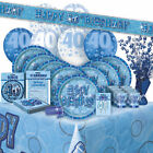 AGE 40 - Happy 40th Birthday BLUE GLITZ - Party Range, Banners & Decorations