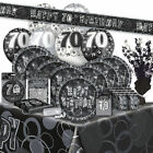 AGE 70 - Happy 70th Birthday BLACK & SILVER GLITZ -Party Range, Banners & Napkin