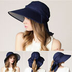 Ladies Soft Summer Wide Brim Anti UV Sun Cap Hat with Wind Rope Ponytail Hole
