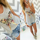Summer Women Casual Short Sleeve Loose T-shirt Sequins butterfly Graphic Tee Top