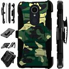 For LG Rugged Phone Cover Hybrid Holster Armor Case GREEN CAMO LuxGuard