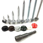 6.3mm 14g TEK ROOFING SCREWS HEX HEAD + SEALING WASHER + COVER CAPS + DRIVER BIT
